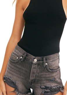 Free People Loving Good Vibrations Fray Hem Denim Shorts (Sulphur Black)