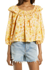 Free People Miss Daisy Ruffle Print Top