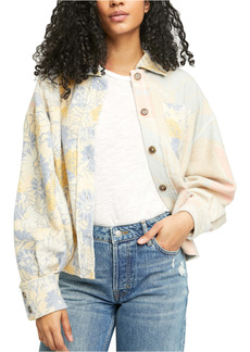 Free People Mixed Print Fleece Shirt Jacket