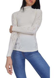 Free People No Turning Back Lace Turtleneck Top