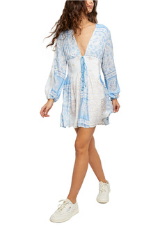 Free People Plunge Neck Long Sleeve Dress