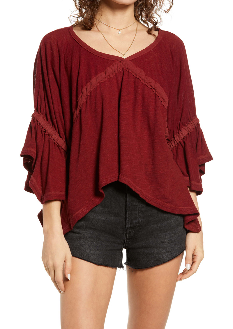 Free People Ruffle Linen Blend Top