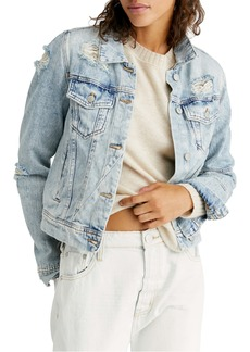 Free People Rumors Ripped Denim Jacket