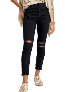 Free People Sabrina Button Front High Waist Super Skinny Jeans