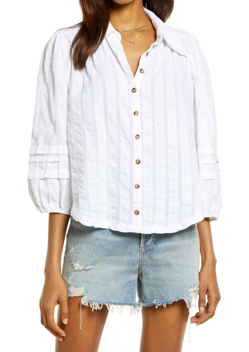 Free People Seersucker Button Front Shirt