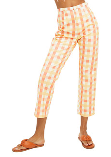 Free People She's All That Plaid Crop High Waist Pants