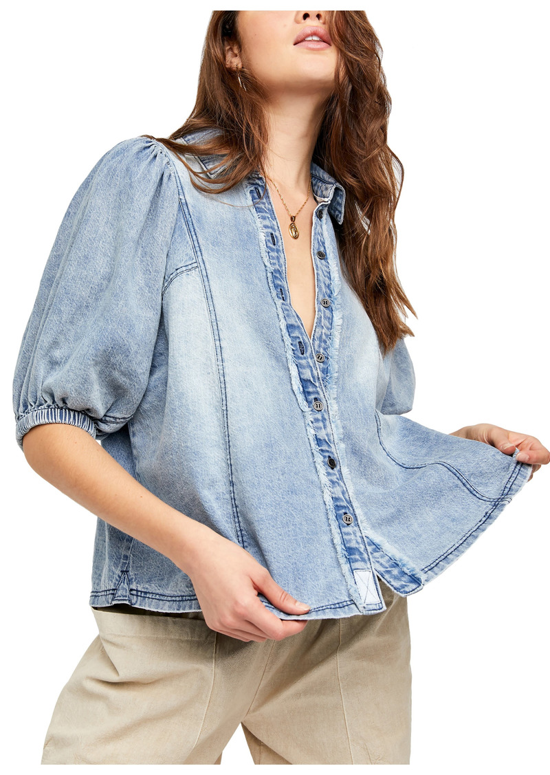 Free People Suhrie Puff Sleeve Denim Button-Up Shirt