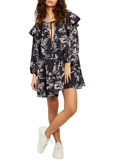 Free People Sunbaked Floral Long Sleeve Swing Minidress