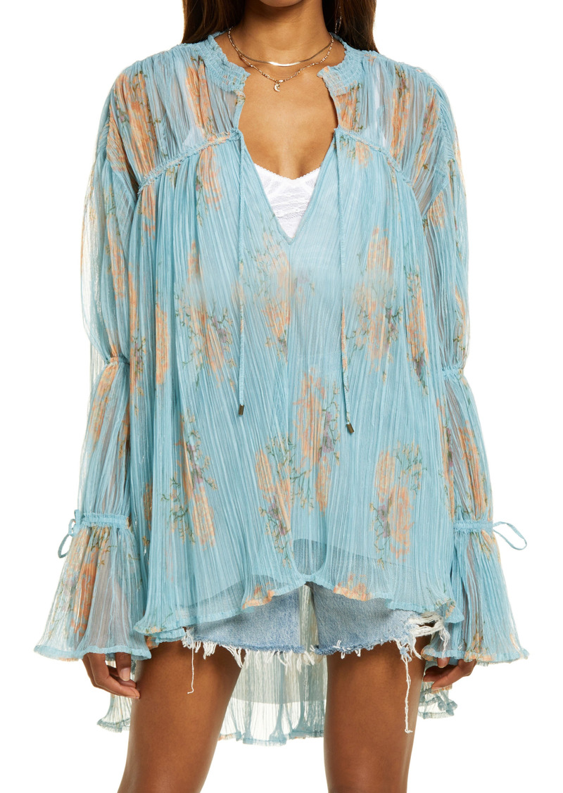 Free People Tie Neck Bell Sleeve Tunic Blouse