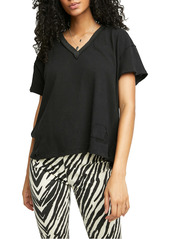 Free People Women's Distressed V-Neck T-Shirt