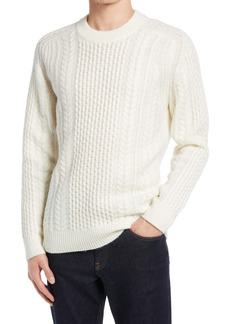 French Connection Wool Blend Cable Knit Crewneck Sweater