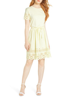 Women's French Connection Santoline Cotton Eyelet Jersey Fit & Flare Dress