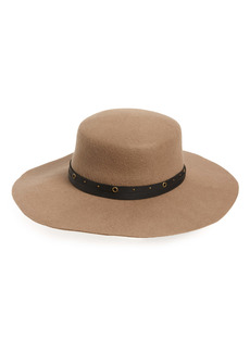 Frye Studded Belt Wool Felt Boater Hat