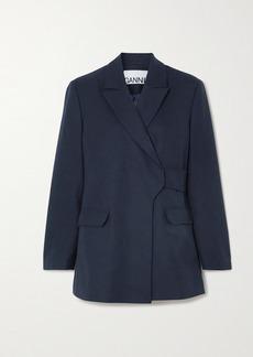 Ganni Belted Wrap-effect Wool-blend Blazer
