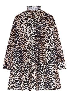 Ganni Animal Print Ruffle Collar Long Sleeve Organic Cotton Poplin Dress