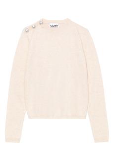 Ganni Button Shoulder Cashmere Sweater