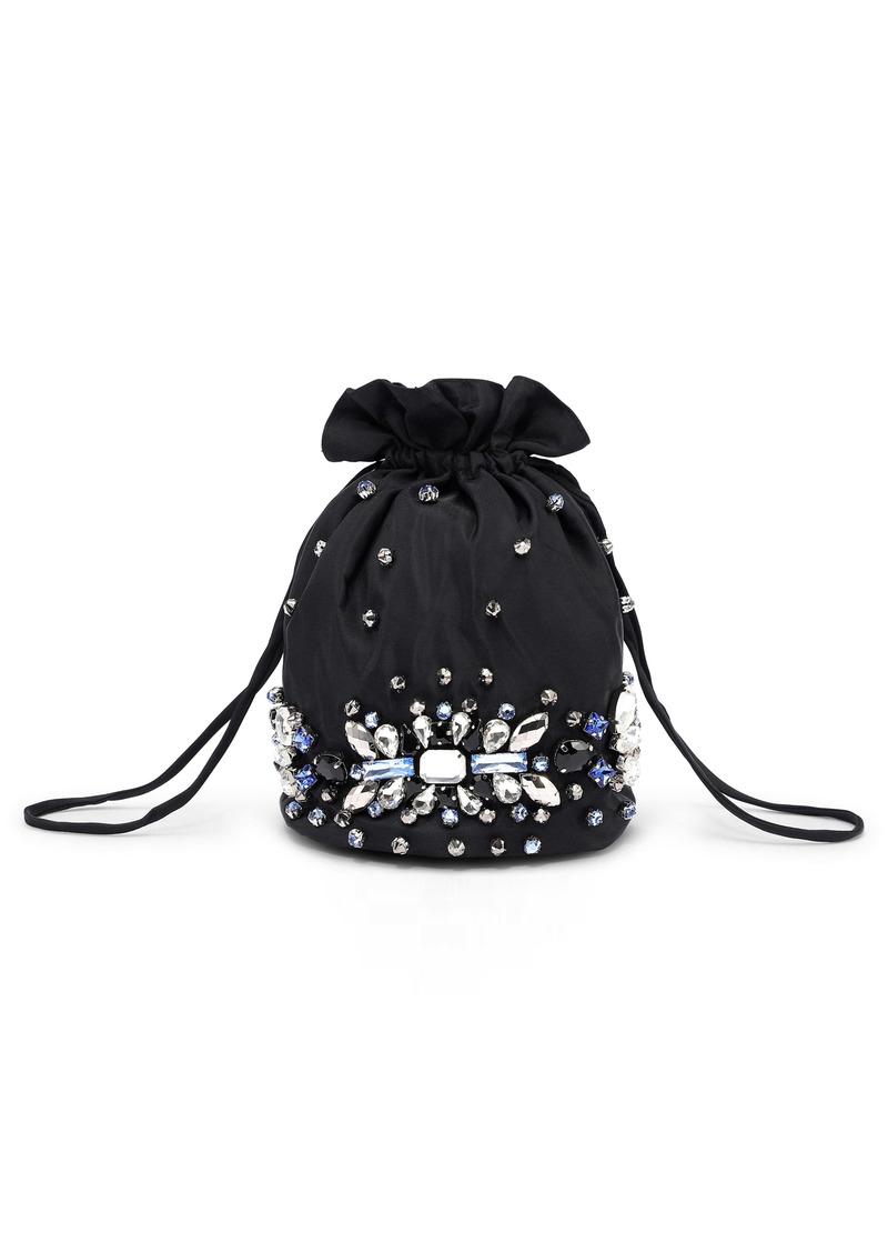 Ganni Crystal Beaded Evening Drawstring Bag