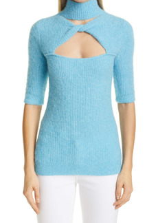 Ganni Cutout Wool Blend Mock Neck Sweater
