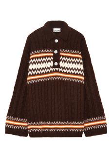 Ganni Fair Isle Polo Sweater