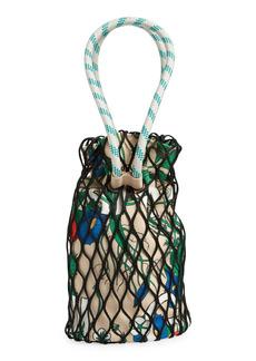 Ganni Fishnet Drawstring Shoulder Bag