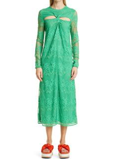 Ganni Floral & Geometric Lace Cutout Midi Dress