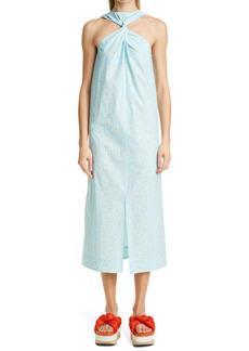 Ganni Floral Ditsy Twist Yoke Organic Cotton Midi Dress