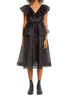 Ganni Floral Print Organza Midi Dress (Nordstrom Exclusive)