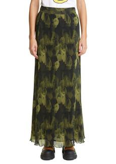 Ganni Floral Print Plissé Pleated Georgette Maxi Skirt