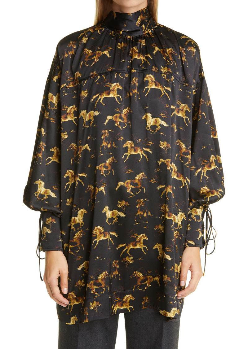 Ganni Horse Print Stretch Silk Satin Tunic