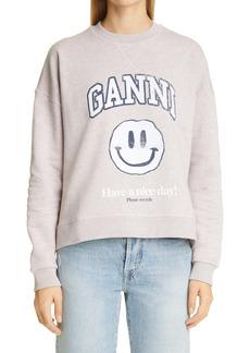 Ganni Isoli Smiley Face Logo Sweatshirt