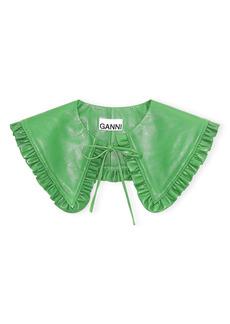 Ganni Lambskin Leather Ruffle Collar