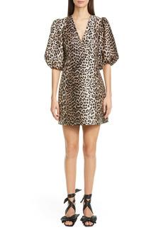 Ganni Leopard Jacquard Puff Sleeve Minidress