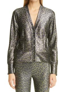 Ganni Leopard Metallic Jersey Cardigan (Nordstrom Exclusive)