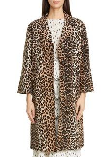 Ganni Leopard Print Linen & Cotton Coat