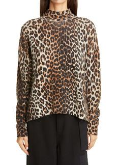 Ganni Leopard Print Merino Wool Blend Sweater