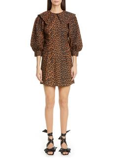 Ganni Leopard Print Poplin Minidress
