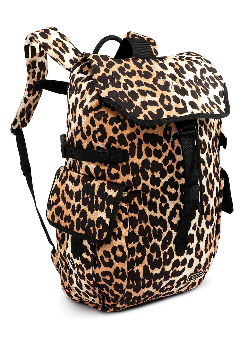 Ganni Leopard Print Recycled Tech Fabric Backpack