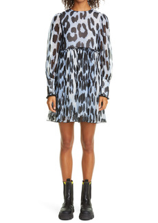 Ganni Long Sleeve Pleated Georgette Dress (Nordstrom Exclusive)