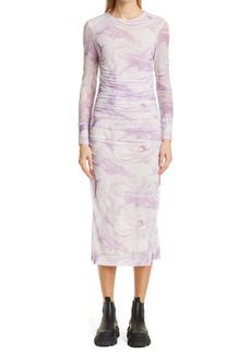 Ganni Marble Print Long Sleeve Mesh Midi Dress