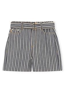 Ganni Mixed Stripe Denim Shorts