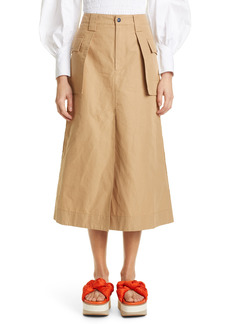 Ganni Organic Cotton & Linen Cargo Skirt
