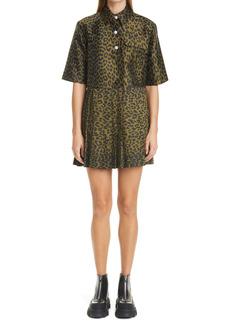 Ganni Pleated Leopard Jacquard Minidress