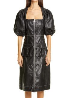 Ganni Puff Sleeve Leather Dress