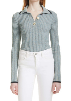 Ganni Rib Long Sleeve Linen Blend Sweater