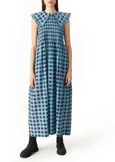 Ganni Ruffle Collar Leopard Print Maxi Dress