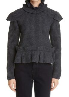 Ganni Ruffle Rib Recycled Wool Blend Sweater