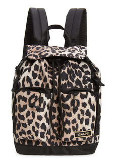 Ganni Small Leopard Print Recycled Tech Fabric Backpack