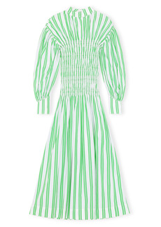 Ganni Stripe Long Sleeve Organic Cotton Dress