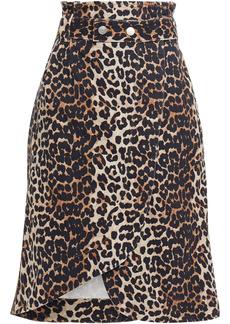 Ganni Woman Asymmetric Belted Leopard-print Denim Wrap Skirt Animal Print