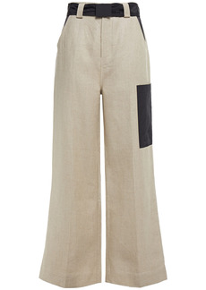 Ganni Woman Belted Shell-paneled Linen-canvas Wide-leg Pants Mushroom